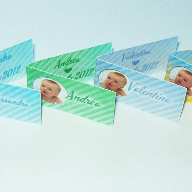 Bigliettini bomboniere battesimo nascita con foto