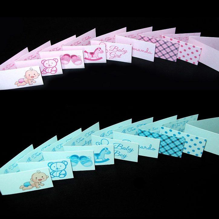 Bigliettini bomboniere battesimo nascita perlati rosa e azzurro