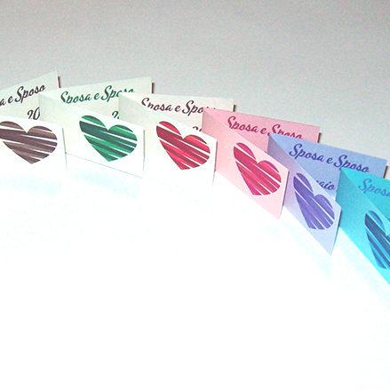 Bigliettini bomboniere colorati con foto interna