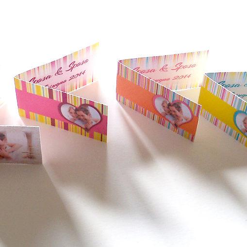 Bigliettini bomboniere multicolor con foto