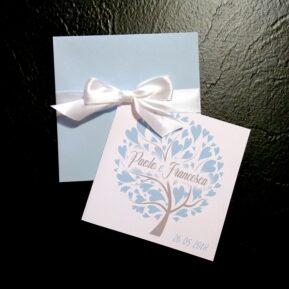 Partecipazione quadrata albero della vita azzurro ghiaccio
