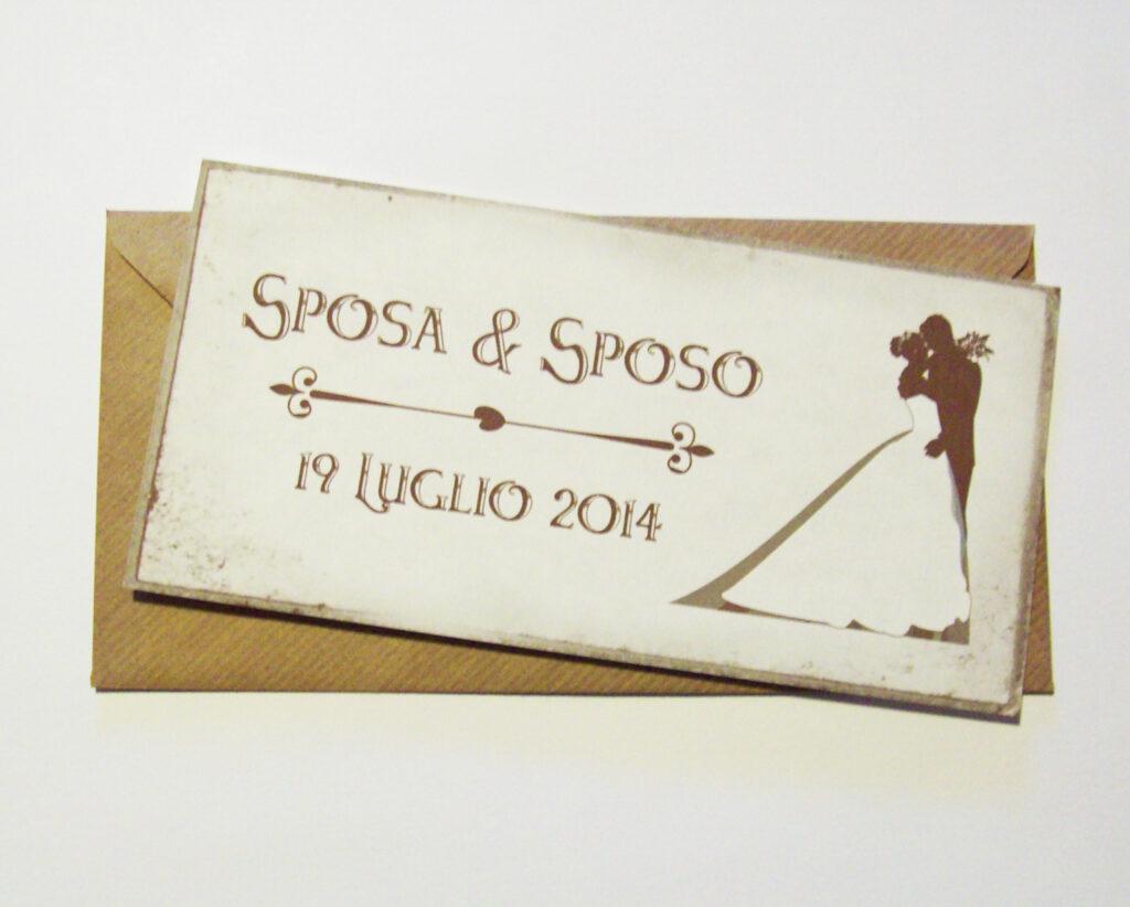 Partecipazione rettangolare cartolina vintage