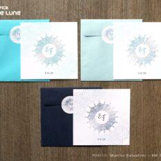 Partecipazione quadrata mandala azzurro tiffany - azzurro ghiaccio - blu