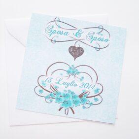 Partecipazione quadrata cuore e fiori azzurro