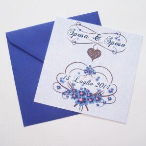 Partecipazione quadrata cuore e fiori blu
