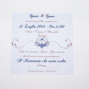Partecipazione quadrata cuore e fiori blu retro