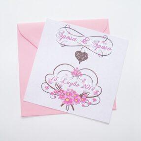 Partecipazione quadrata cuore e fiori rosa