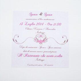 Partecipazione quadrata cuore e fiori rosa retro