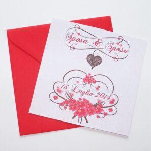 Partecipazione quadrata cuore e fiori rosso