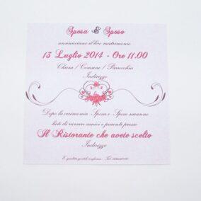 Partecipazione quadrata cuore e fiori rosso retro