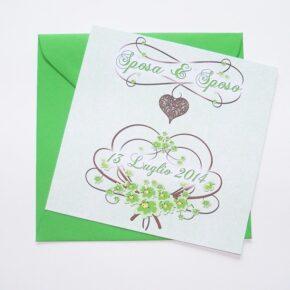 Partecipazione quadrata cuore e fiori verde