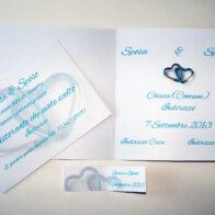 Partecipazione quadrata cuori moschettone blu interno