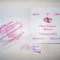 Partecipazione quadrata cuori moschettone rosa interno