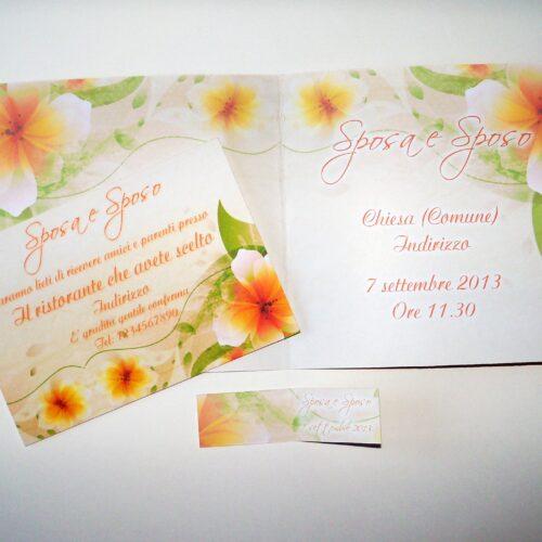 Partecipazione quadrata fiori arancio interno
