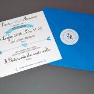Partecipazione quadrata vintage blu mare 1 anta