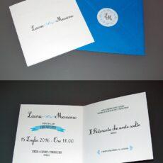 Partecipazione quadrata vintage blu mare 2 ante