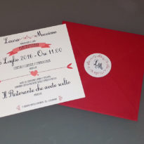 Partecipazione quadrata vintage rosso 1 anta