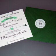 Partecipazione quadrata vintage verde 1 anta