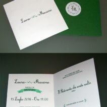 Partecipazione quadrata vintage verde 2 ante