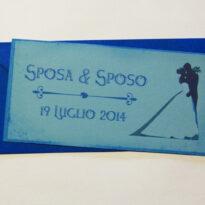 Partecipazione rettangolare cartolina vintage azzurro