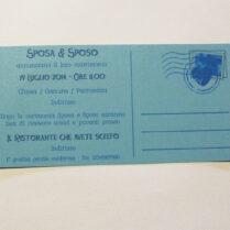 Partecipazione rettangolare cartolina vintage azzurro retro
