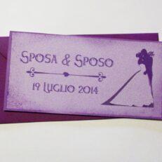 Partecipazione rettangolare cartolina vintage lilla