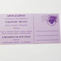 Partecipazione rettangolare cartolina vintage lilla retro