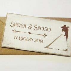 Partecipazione rettangolare cartolina vintage marrone pergamena