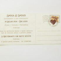 Partecipazione rettangolare cartolina vintage marrone pergamena retro