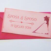 Partecipazione rettangolare cartolina vintage rosa