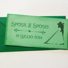 Partecipazione rettangolare cartolina vintage verde