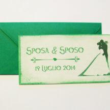 Partecipazione rettangolare cartolina vintage verde pergamena