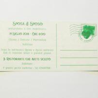 Partecipazione rettangolare cartolina vintage verde pergamena retro