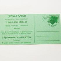 Partecipazione rettangolare cartolina vintage verde retro