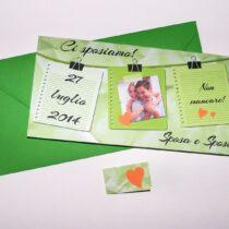 Partecipazione rettangolare con foto verde