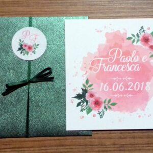 Partecipazione quadrata rose acquerello