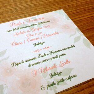 Partecipazione quadrata rose acquerello retro