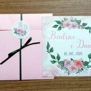 Partecipazione quadrata rose romantica