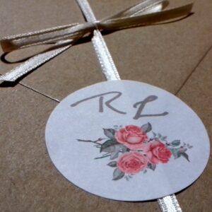 Partecipazione quadrata rose vintage particolare