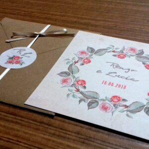 Partecipazione quadrata rose vintage prospettiva