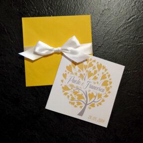 Partecipazioni quadrate albero della vita giallo sole