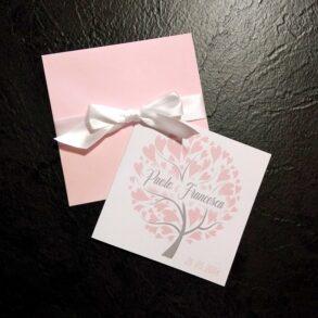 Partecipazioni quadrate albero della vita rosa chiaro