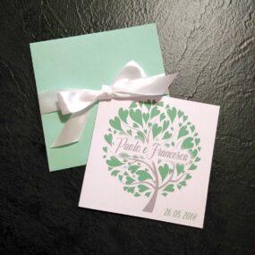 Partecipazioni quadrate albero della vita verde chiaro
