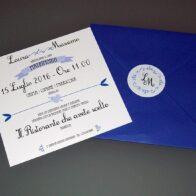Partecipazioni quadrate vintage blu iris 1 anta