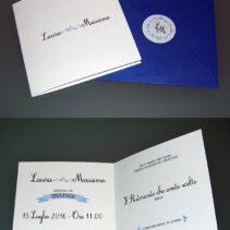 Partecipazioni quadrate vintage blu iris 2 ante