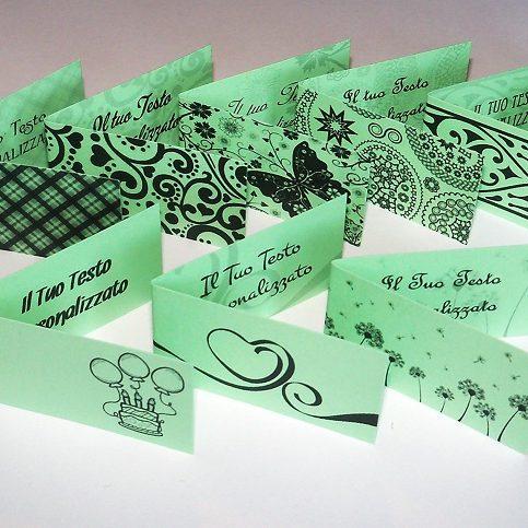 Bigliettini bomboniere verde chiaro foto