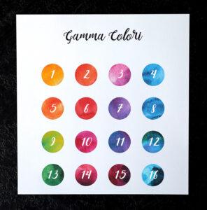Coordinato acquerello Gamma colori con numeri